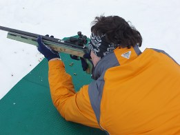 Student in a Schools Group taking part in the Biathlon